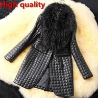 Winter autumn 2014 women PU Leather black overcoat,Female Faux fur jacket fashion latest brand office long coats S M XL XXL 3XL