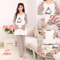 Cotton Maternity Printed Sleepwear Pregnant Pajamas Nursing Tops+Pants Breast Feeding Nightgown Clothes For Pregnant Women