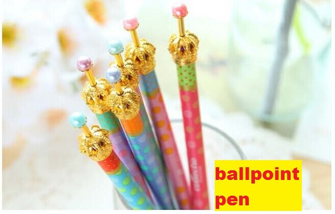 NEW cute fresh dot crown ballpoint pen / Fashion lady Princess pen/Korean Style /stationery / Promotion Gift(China (Mainland))