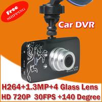 "Original Car Video Recorder DVR  with Novatek 96620 + WDR Technology + 720P 30FPS + G-Sensor + 2.7"" LCD +140 Degree Wide Angle"