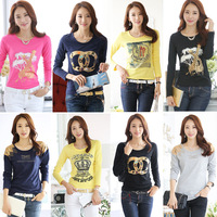 XXXL!!   New Fashion 2014 Autumn Korean  Style  100% female Cotton Long-sleeve T-shirt  Pluse  Size S-XXXL Za  Women