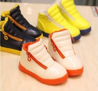 2014 autumn and winter new solid color high child boys and girls sneakers fashion baby sports shoes