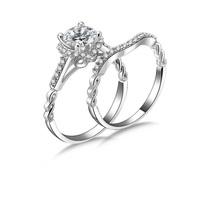 Unique design sterling silver 1 carat cz diamond wedding bands for women rings set (MATE R132)