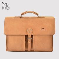 Genuine Brand Guarantee men bag Crazy horsehide Handmade Upscale men's genuine leather handbag retro