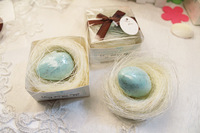 CUTE Baby shower favors mini pink blue bird's nest eggs soap with 5 colors ribbon available event party  favors gifts wholesale
