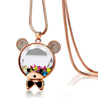 x274 Crystal Cartoon Cute Bear Sweater Chain Female Long Necklace With Jewelry Ornaments
