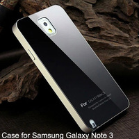 Note3 Ultra thin Aluminum Metal + Acrylic Glass Battery cover case  for samsung Galaxy Note 3 n9000 phone bags Matte Surface