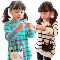 2014 Free Shipping Children Girl Fall Clothing set 2pcs Suit Cartoon Cat Stripe Sweatshirts Kids Top+ Leggings Girl Sets