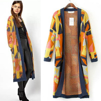 Free shipping! 2014 new women's long geometric jacquard knitting cardigans, Women's high quality sweater S/M/L super long