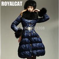 Royalcat Italy Newest fashion Luxury women long down jacket, Dark Blue Belt Fur Hooded Queen Victoria Down Coat ,S-XXL- U13078