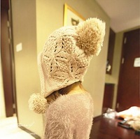 New Arrive Fashion Autumn Winter Hat Knitted Wool Hats Women's Skullies Beanies Ear Warm Caps With Big Balls