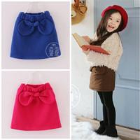 3T-7T Autumn fleece/ fur bow mini skirt for children girls blue/ pink color baby girl winter fashion skirts