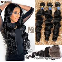 Malaysian Virgin Hair Loose Wave Lace Closure With 3/4 Malaysian Hair Bundles Mocha Human Hair Extension Virgo Malaysian Hair