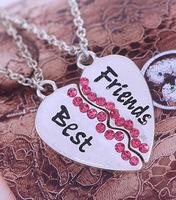 2014 New Arrival Peach Heart Letters Best Friends Combo Pendant Necklace
