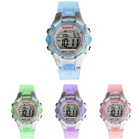 2015 Hot Sale Waterproof Children Watches Girls Digital Watch LED Alarm Date Sports Wristwatches 4 colors Free Shipping Tonsee