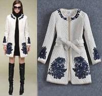 New IN 2014 Winter Outwear Women's Stunning Beading Flower Embroidery Nobel Cotton-Wadded Coat Vintage Coat Size XXXL