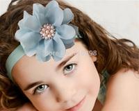 popular in USA 45Pcs/Lot Pearl Rhinestone Baby Hair Flower Headband baby Girl Hairband Hair Accessories chiffon flower headband