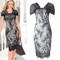 2014 New European Summer Women Casual Dress Work Wear Slim OL Sexy V-Neck Full Lace Floral Celebrity Elegant Party Dresses 1569