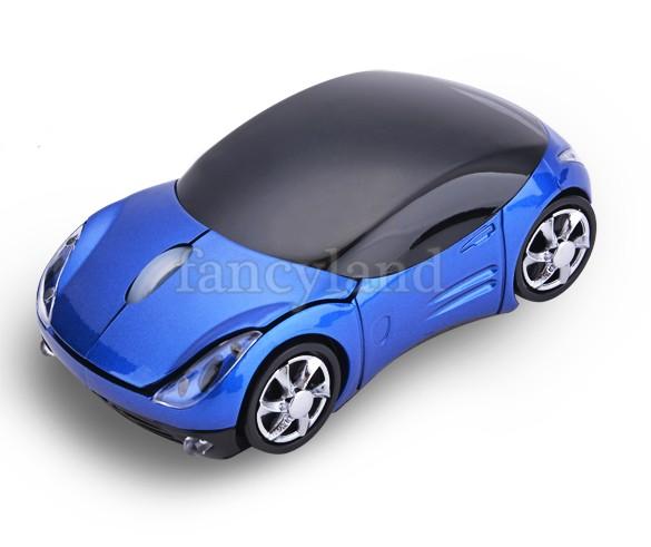 New 2.4GHz usb Wireless Optical Mouse Mice car shape Mouse + USB 2.0 Receptor para PC Laptop Black / Blue #14 SV007776(China (Mainland))