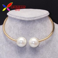 2014 pearl choker fashion hot double 25mm faux pearlThick gold silver alloy designer false collar necklace for women wholesale