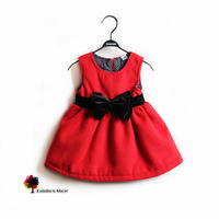New Children Clothing Autumn Winter Girls Fashion Red Thick Wool Dress with Waist Bow  Children Quality Sleeveless Vest Dress
