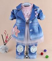 new 2014 baby girl denim coat clothing sets 3pcs kids clothes sets children outwear baby girl clothing sets denim set girl