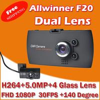 "Car Dvr Video Recorder FHD 1080P+ Dual Camera + 2.7"" HD Screen+ 30FPS+G-Sensor+Night Vision+140 Wide Angle Lens"