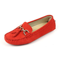 New Fashion Women Genuine Leather Flat Shoes Comfortable Moccasin Loafers for Women Candy Color Tassel Decoration Women Flats