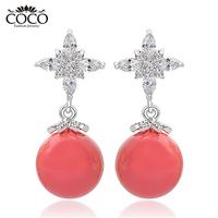 2014 New Design Earrings Jewelry Wholesale Zircon Pink Shell Pearl Earring High Quality Women Jewelry Gifts