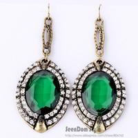 European Star Luxury Style CZ Stone Water Drop Brincos Alloy Green Simulated Gemstone Statement Earring Dress Jewelry SCE084
