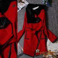Chanllel Winter Woollen Coat Women Outerwear Genuine Rabbit Fur Collar Thick Plus Size Coat Parka Overcoat woolen long coat