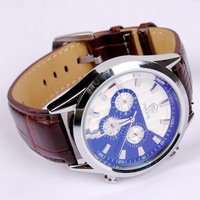 Casual Businessmen Automatic Self Wind Dress Watches 6 Hands Mechanical Leather Wristwatch Back Transparent Clock Relojes NW684