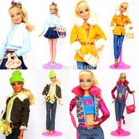4sets/lot New Design Handmade Clothes Suit Set Leasure Wear Winter Dress Coat Shoes Clothing Accessories For Kurhn Barbie Doll