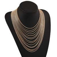 [Free Style]  Hot Fashion New Vintage Style Gold Plated Multilayer Chains Necklace Statement Dress Necklace Jewelry For Women