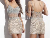 Sexy Sheath Spaghetti Strap Sequined Sweetheart Sleeveless Backless Customize Beading New Short Mini Short Cocktail Dresses 2015