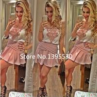 Women summer dress 2014 new vestido de festa dress women Lace stitching women dress vestidos