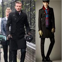 Free Shipping  2014 trench coat men New Arrive Autumn and winter long coat men wool double breasted wool coat wool coat men