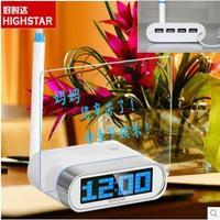 2014 new LED background light Digital Alarm Clock Message Board Calendar USB HUB ports Clocks fashion gift electronic clock