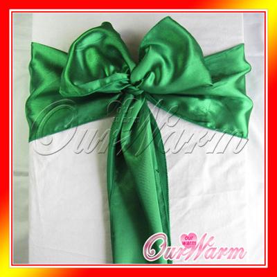 50Pcs/lot Emerald 15CM*275CM Satin Chair Sashes Wedding Party Banquet Events Chair Decoration Supplies Wholesales(China (Mainland))