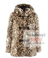 2014 New Faux Fur Women Coats Winter Warm Leopard Pattern Hooded Long Sleeve Fur Coat Jacket Overcoat Ladies Outerwear ,XS-XXL