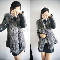 Free Shipping Womens Female Jacket Outerwear Button Solid Design Faux Fur Vest Leather Coat Winter M-XXXL [3 70-6210]