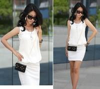 2014 Summer Women's Mini Dress Crew Neck Chiffon Sleeveless Causal Tunic Sundress 4 colors ,Free Shipping