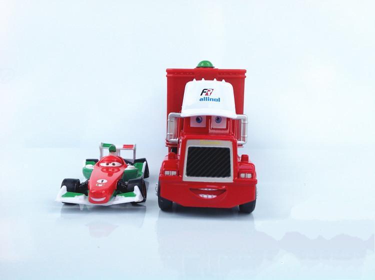1Set=2pcs Free Shipping Pixar cars 2 Toys Diecast metal Mack cars plastic truck F1 Francesco Bernoulli Hauler+Small Racing(China (Mainland))