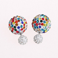 Hot Sale Christmas Gift 16mm And 8mm Colorful Double Micro Pave Crystal Rhinestone Disco Ball Stud Earrings For WomenCTBE16-RP01