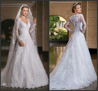 New Style Luxury Long Trail Long Sleeve Ball Gown Wedding Dresses vestido de noiva NS862