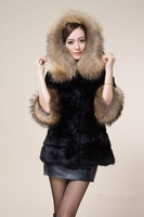 2014 large raccoon fur collar faux fur outerwear hooded women's medium-long winter fur coat