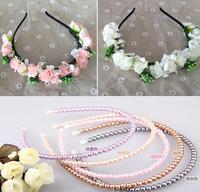Pearl Style Flower Garland Boho Floral Headband Headwear Garland Festival Wedding Bridal Hairband Women ej300317