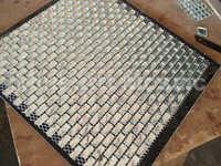 [Mius Art Mosaic]  Beveling edge whhite color 13 faced strip diamond mirror glass mosaic tile for kitchen backsplash  B6018
