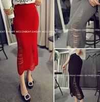 European 2014 New Knee-length Hole knitted Skirt Women Fashion Ladies' Slim Fit Knitting high waist pencil skirts   (A2513)
