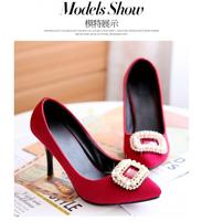 Rhinestone Beading Purple Red Black Party Wedding Thin High Heels Women Pumps Shoes Woman ,  Freeshipping On Sale